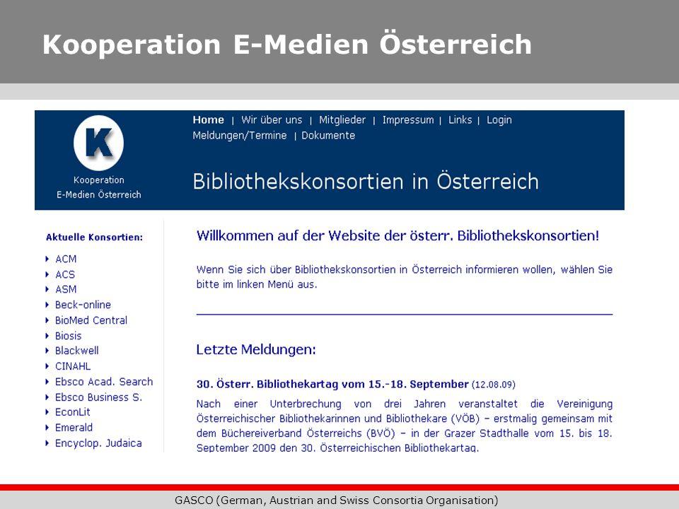 GASCO (German, Austrian and Swiss Consortia Organisation) Kooperation E-Medien Österreich