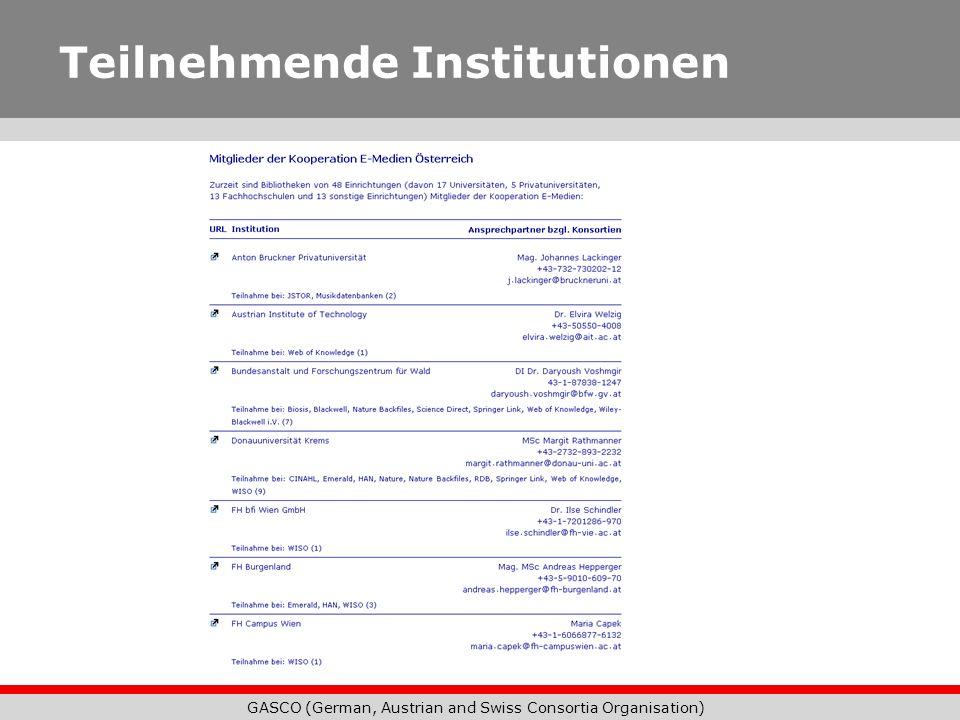 GASCO (German, Austrian and Swiss Consortia Organisation) Teilnehmende Institutionen