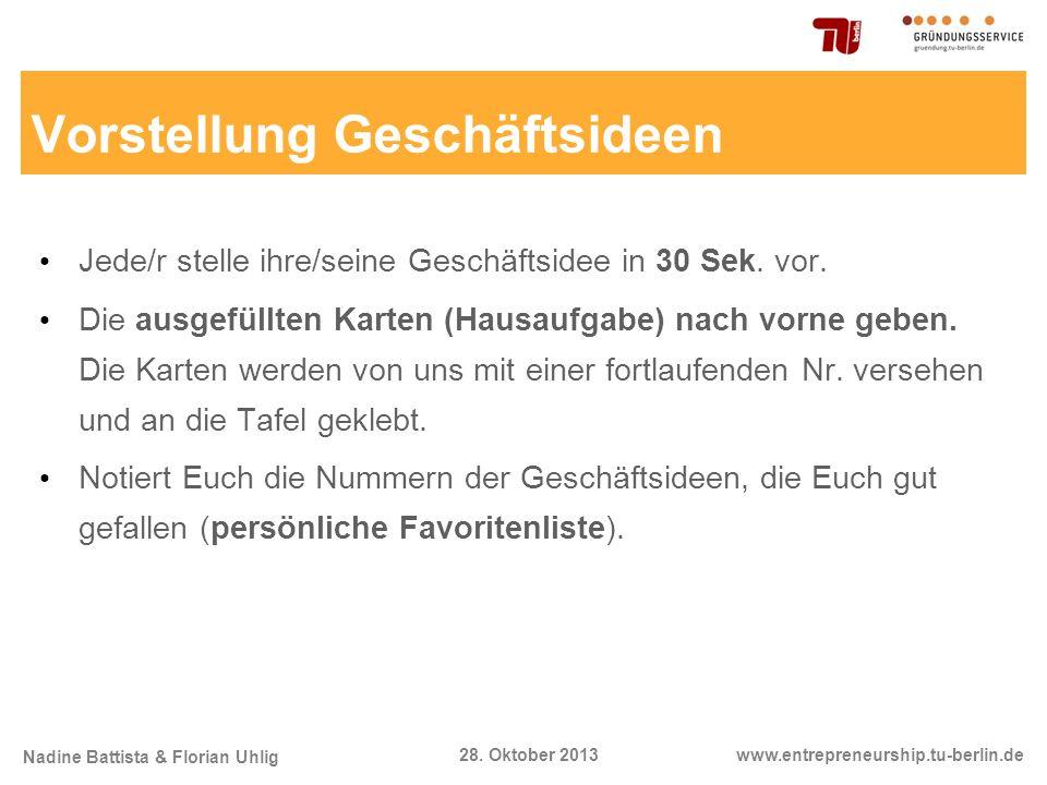 Nadine Battista & Florian Uhlig www.entrepreneurship.tu-berlin.de28. Oktober 2013 Vorstellung Geschäftsideen Jede/r stelle ihre/seine Geschäftsidee in