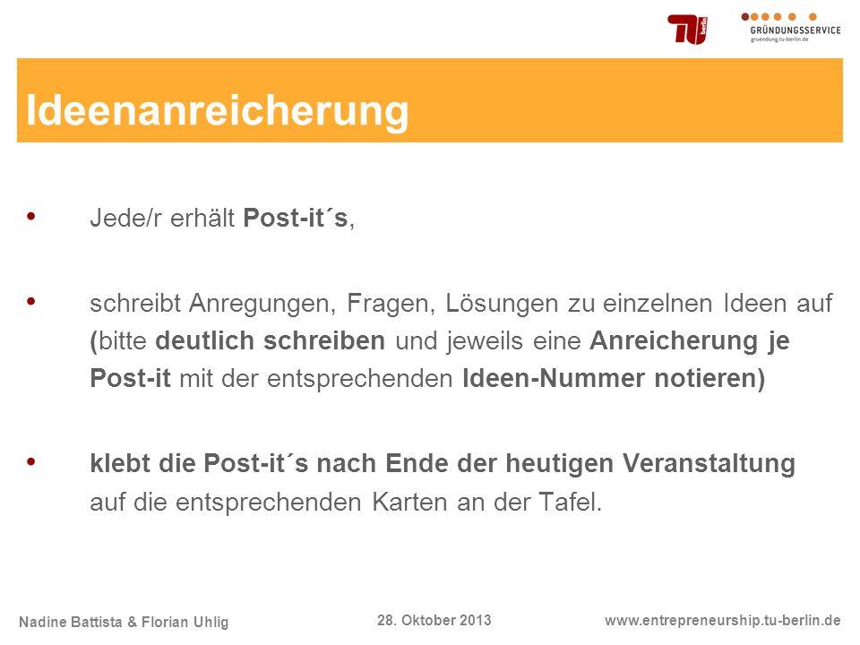 Nadine Battista & Florian Uhlig www.entrepreneurship.tu-berlin.de28. Oktober 2013 Ideenanreicherung Jede/r erhält Post-it´s, schreibt Anregungen, Frag