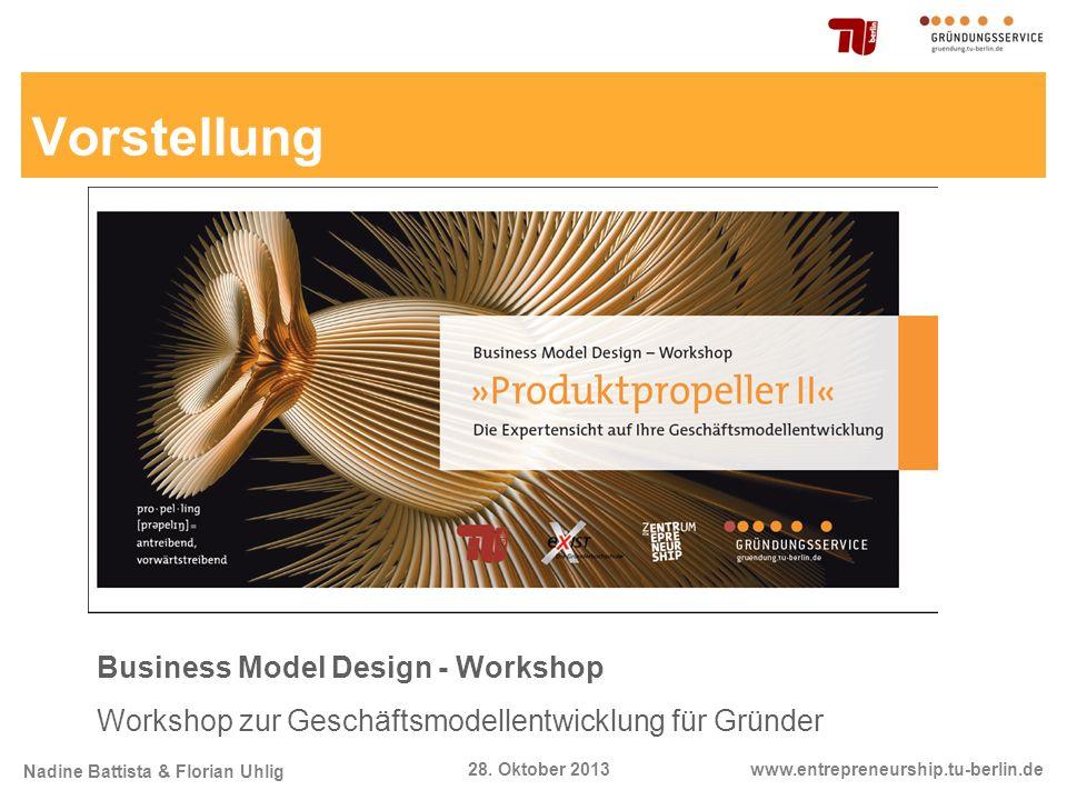 Nadine Battista & Florian Uhlig www.entrepreneurship.tu-berlin.de28. Oktober 2013 Business Model Design - Workshop Workshop zur Geschäftsmodellentwick