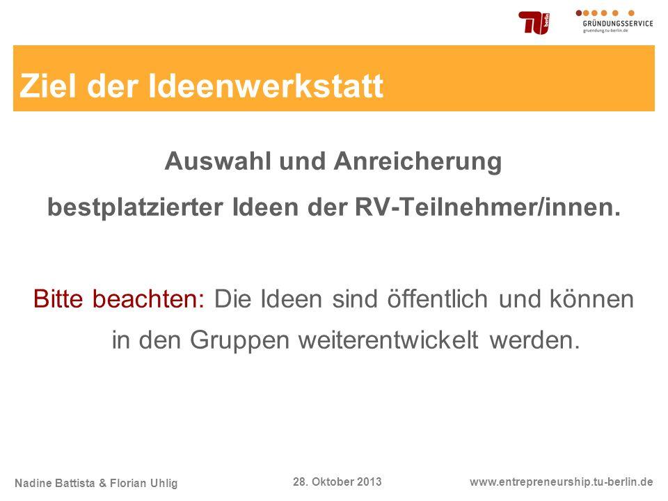 Nadine Battista & Florian Uhlig www.entrepreneurship.tu-berlin.de28. Oktober 2013 Ziel der Ideenwerkstatt Auswahl und Anreicherung bestplatzierter Ide