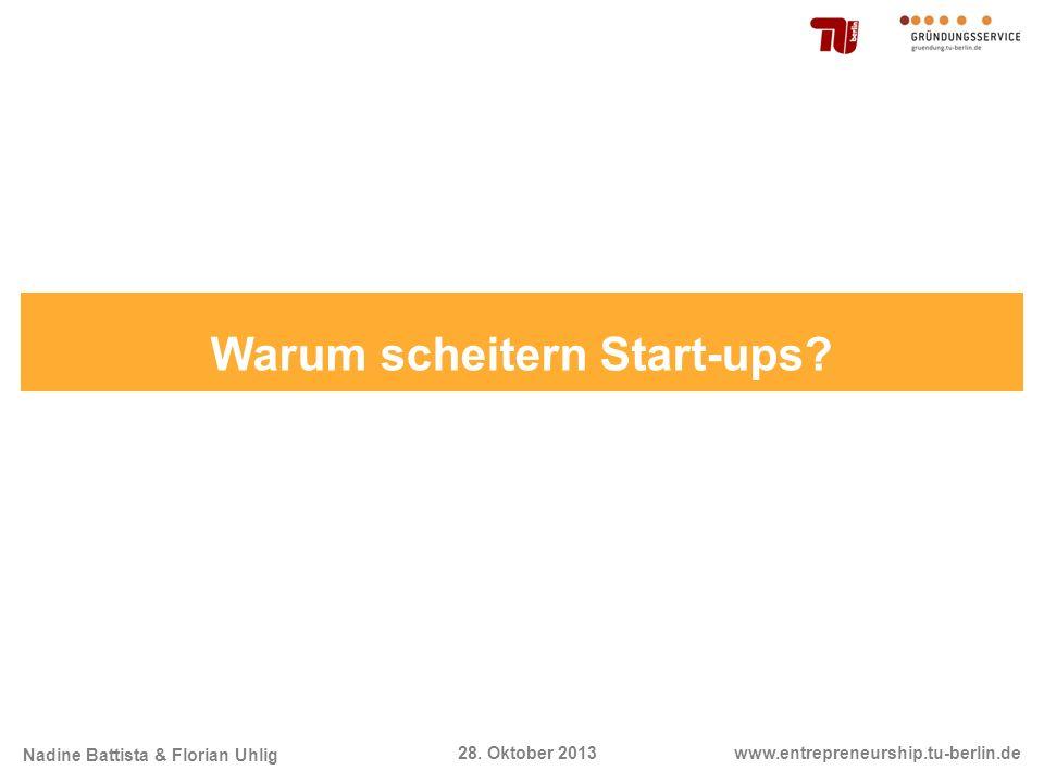 Nadine Battista & Florian Uhlig www.entrepreneurship.tu-berlin.de28. Oktober 2013 Warum scheitern Start-ups?