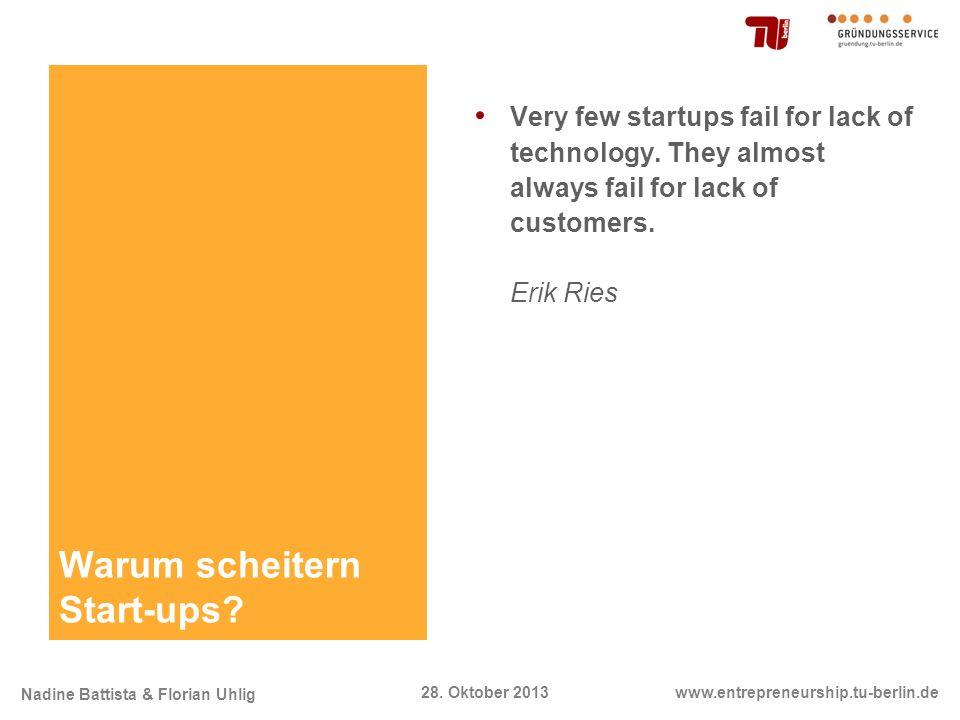 Nadine Battista & Florian Uhlig www.entrepreneurship.tu-berlin.de28. Oktober 2013 Warum scheitern Start-ups? Very few startups fail for lack of techno