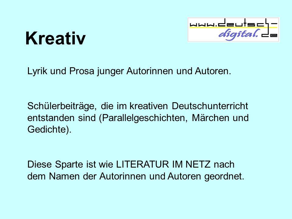 Kreativ Lyrik und Prosa junger Autorinnen und Autoren. Schülerbeiträge, die im kreativen Deutschunterricht entstanden sind (Parallelgeschichten, Märch