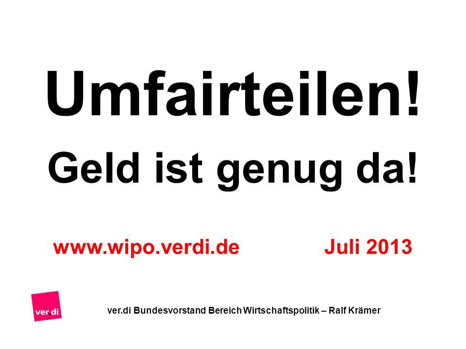 Umfairteilen! Geld ist genug da! www.wipo.verdi.de Juli 2013 ver.di Bundesvorstand Bereich Wirtschaftspolitik – Ralf Krämer