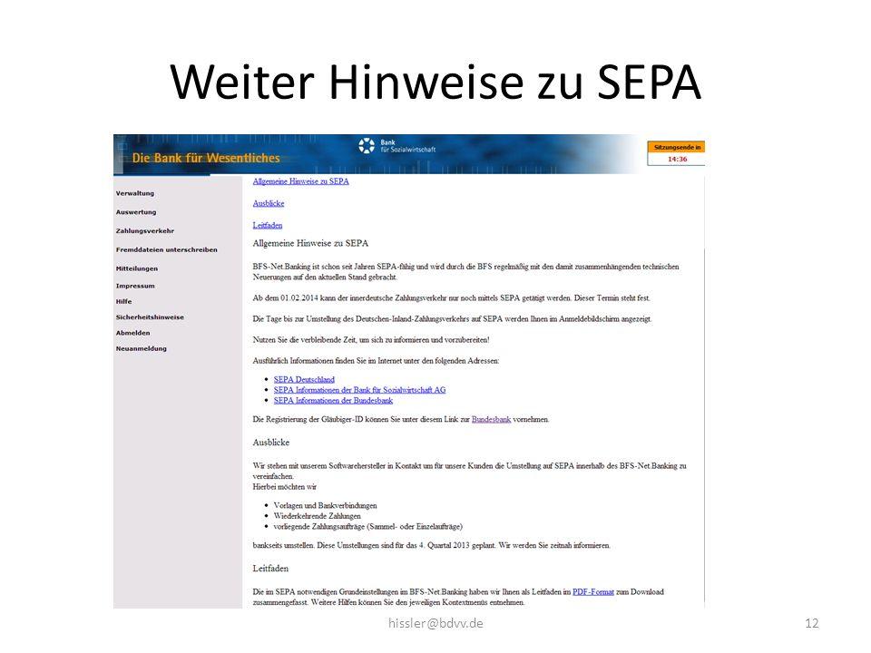 Weiter Hinweise zu SEPA 12hissler@bdvv.de
