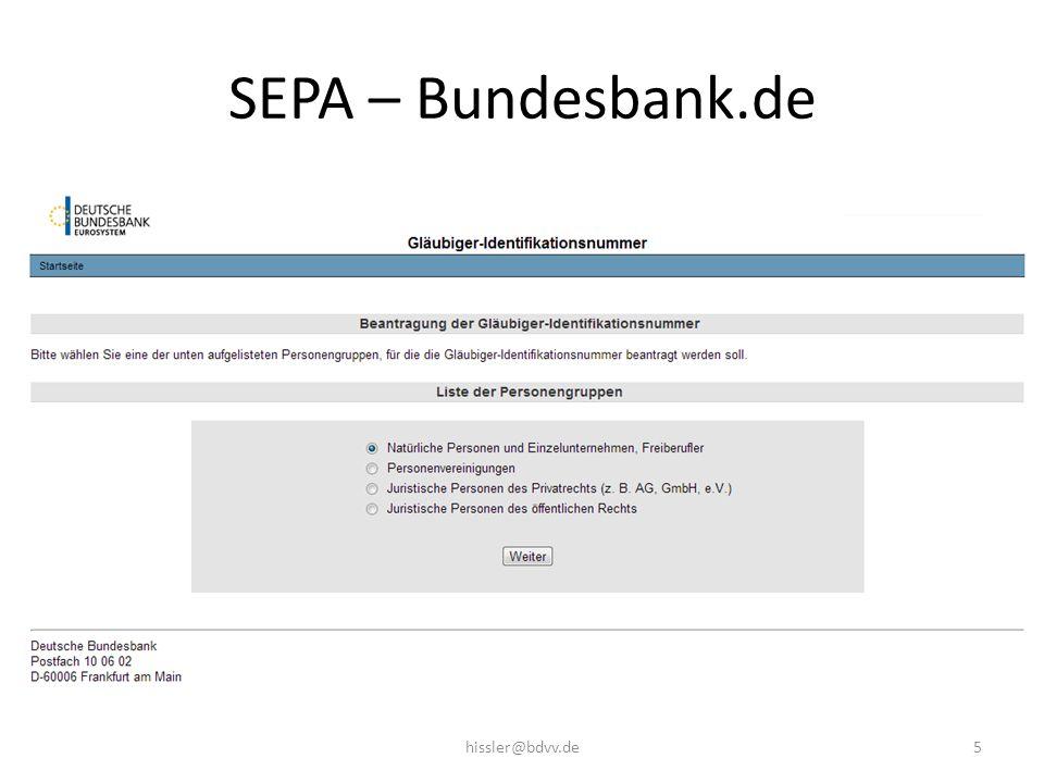 SEPA – Bundesbank.de 5hissler@bdvv.de