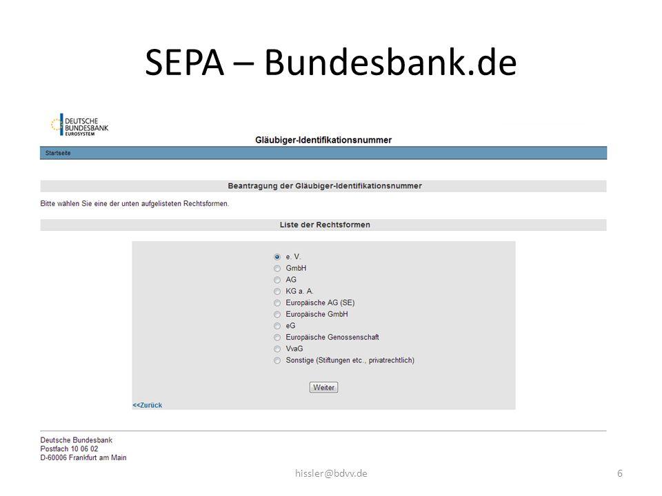 SEPA – Bundesbank.de 6hissler@bdvv.de