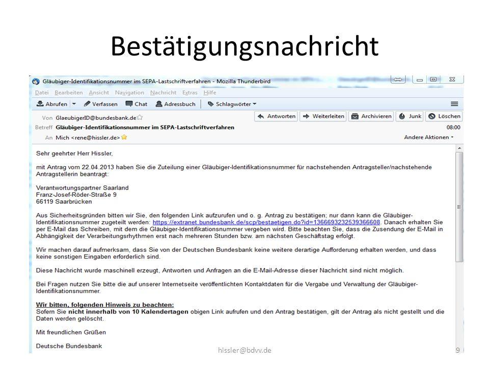Bestätigungsnachricht 9hissler@bdvv.de