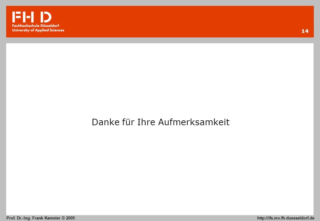 14 Prof. Dr.-Ing. Frank Kameier © 2009 http://ifs.mv.fh-duesseldorf.de Danke für Ihre Aufmerksamkeit