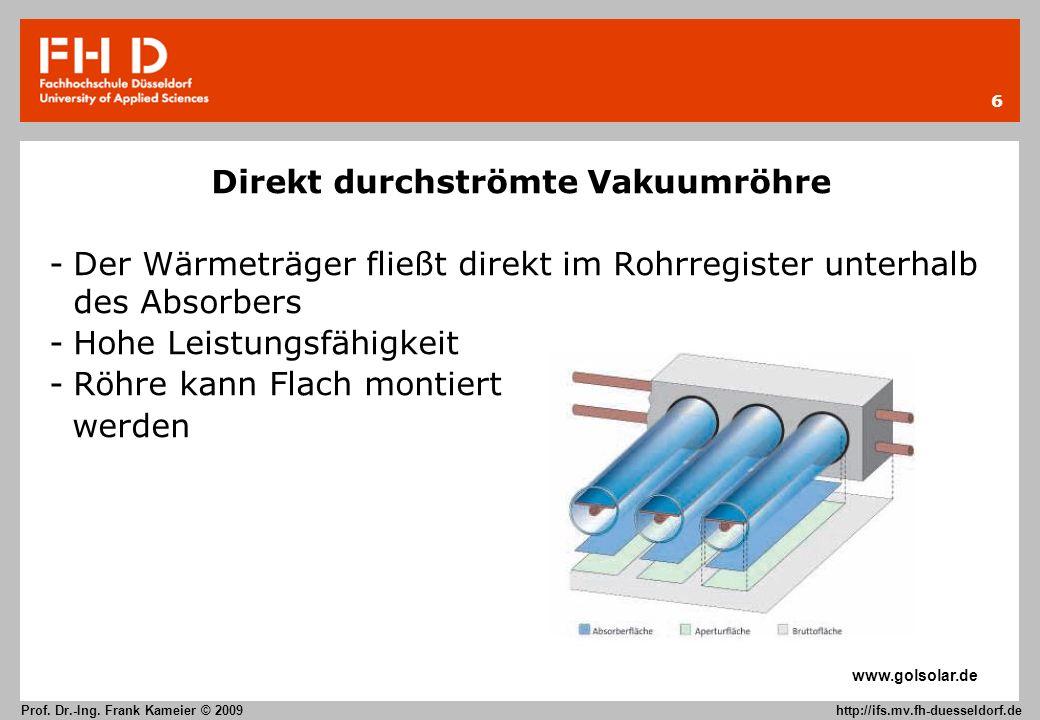 6 Prof. Dr.-Ing. Frank Kameier © 2009 http://ifs.mv.fh-duesseldorf.de Direkt durchströmte Vakuumröhre -Der Wärmeträger fließt direkt im Rohrregister u