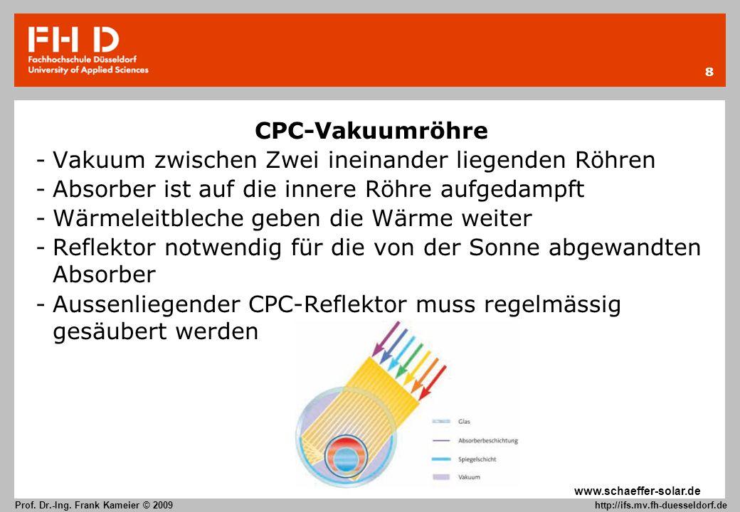 8 Prof. Dr.-Ing. Frank Kameier © 2009 http://ifs.mv.fh-duesseldorf.de CPC-Vakuumröhre -Vakuum zwischen Zwei ineinander liegenden Röhren -Absorber ist