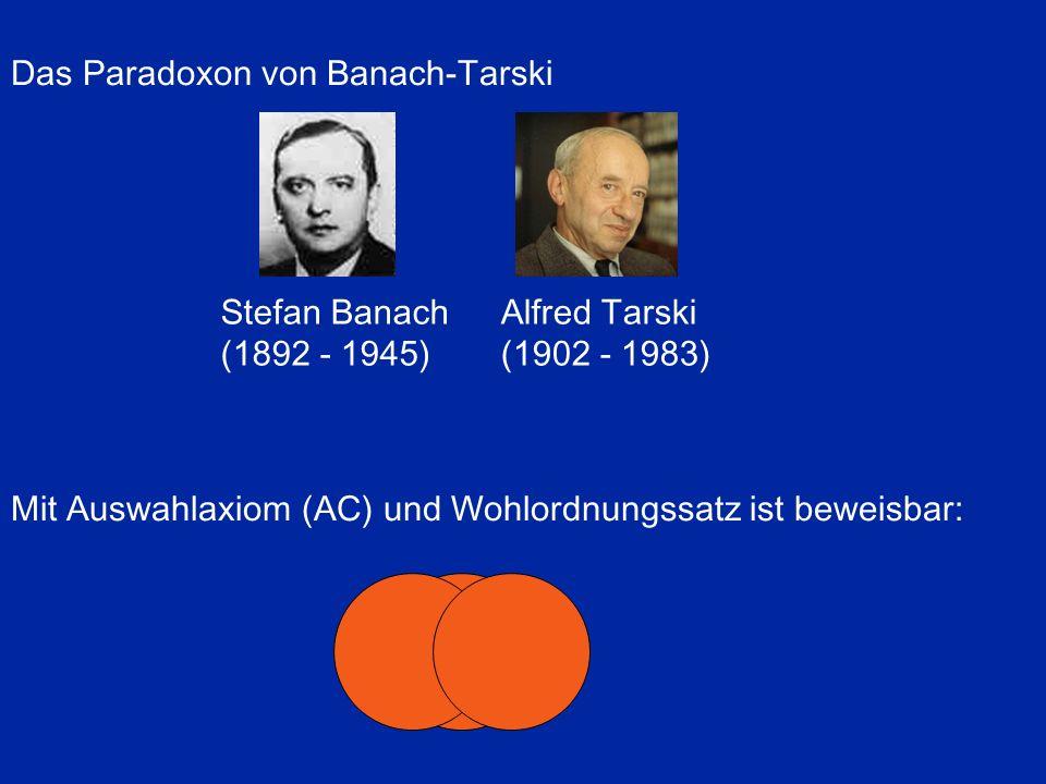 Das Paradoxon von Banach-Tarski Mit Auswahlaxiom (AC) und Wohlordnungssatz ist beweisbar: Stefan Banach (1892 - 1945) Alfred Tarski (1902 - 1983)
