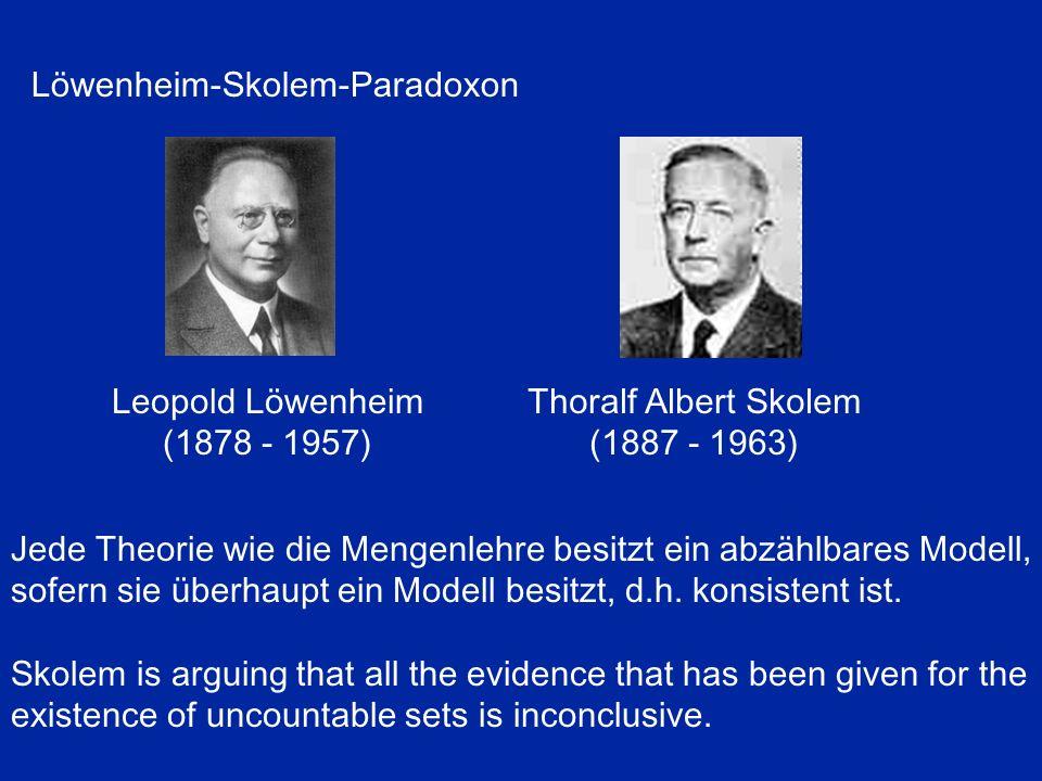 Jede Theorie wie die Mengenlehre besitzt ein abzählbares Modell, sofern sie überhaupt ein Modell besitzt, d.h. konsistent ist. Skolem is arguing that