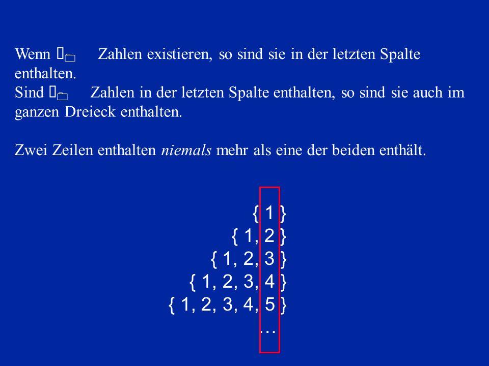 { 1 } { 1, 2 } { 1, 2, 3 } { 1, 2, 3, 4 } { 1, 2, 3, 4, 5 } … Wenn À 0 Zahlen existieren, so sind sie in der letzten Spalte enthalten.