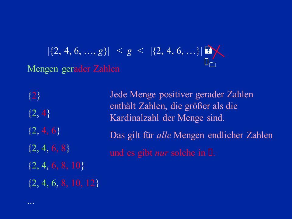 {2}{2} {2, 4} {2, 4, 6} {2, 4, 6, 8} {2, 4, 6, 8, 10} {2, 4, 6, 8, 10, 12}... Mengen gerader Zahlen =À0=À0 |{2, 4, 6, …, g}|< |{2, 4, 6, …}|< g Jede M