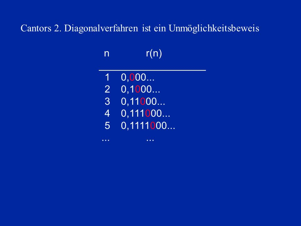 nr(n) 00000___________________ 00000010,000... 00000020,1000... 00000030,11000... 00000040,111000... 00000050,1111000............ Cantors 2. Diagonalv