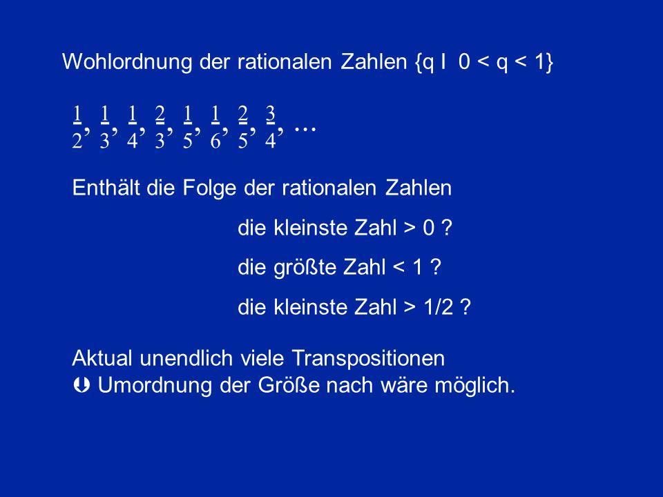 -, -, -, -, -, -, -, -,... 2 3 4 3 5 6 5 4 1 1 1 2 1 1 2 3 Wohlordnung der rationalen Zahlen {q I 0 < q < 1} Enthält die Folge der rationalen Zahlen d