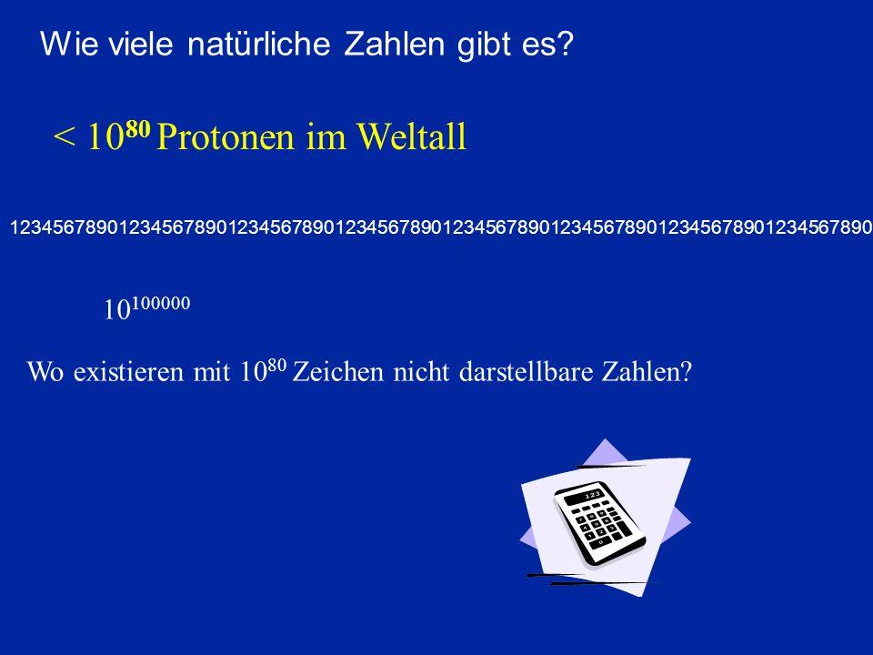 Wie viele natürliche Zahlen gibt es? 12345678901234567890123456789012345678901234567890123456789012345678901234567890 < 10 80 Protonen im Weltall 10 1