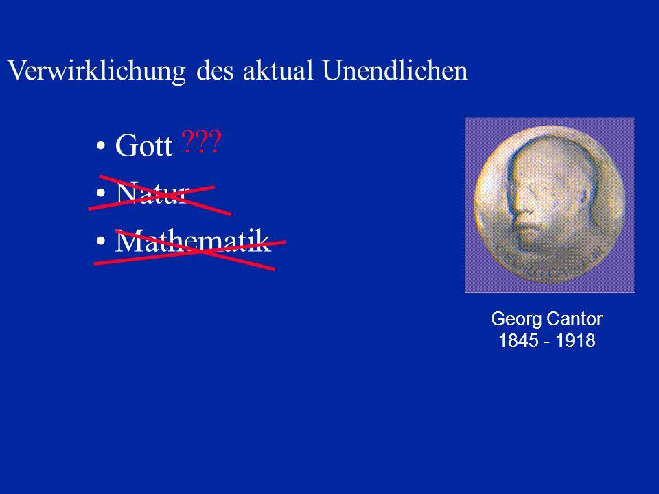 Gott Natur Mathematik Verwirklichung des aktual Unendlichen Georg Cantor 1845 - 1918 ???