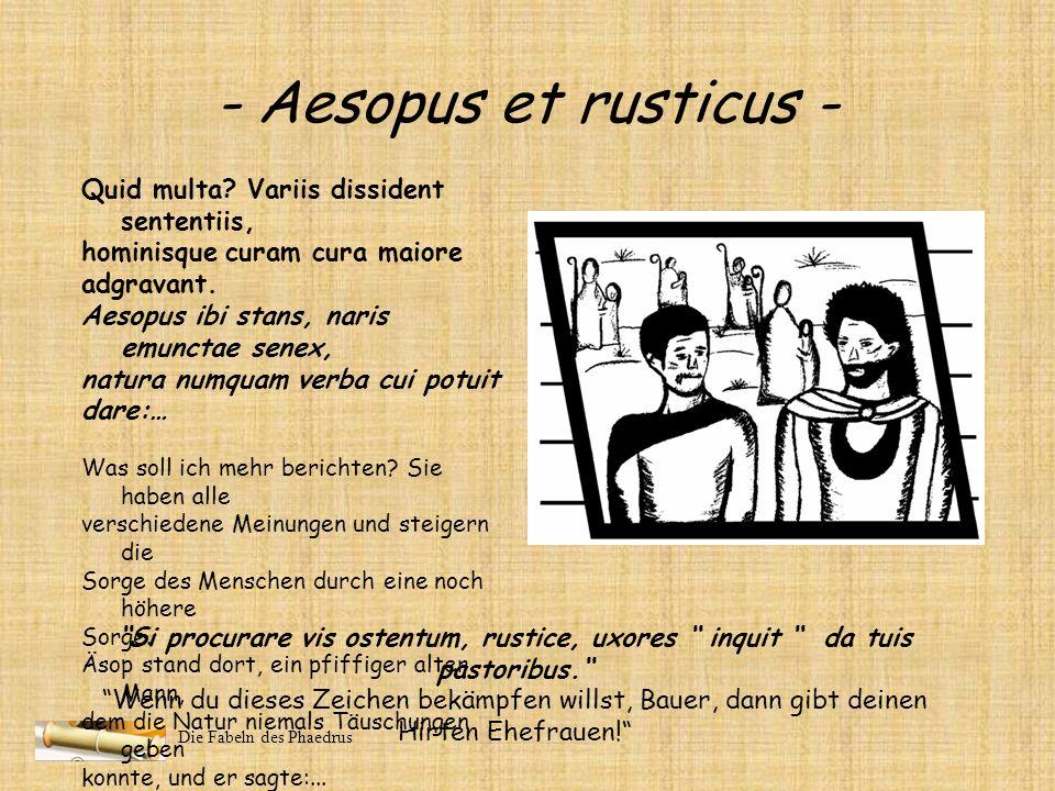 Die Fabeln des Phaedrus - Aesopus et rusticus - Monstro territus ad consulendos currit maerens hariolos. Hic pertinere ad domini respondet caput, et a