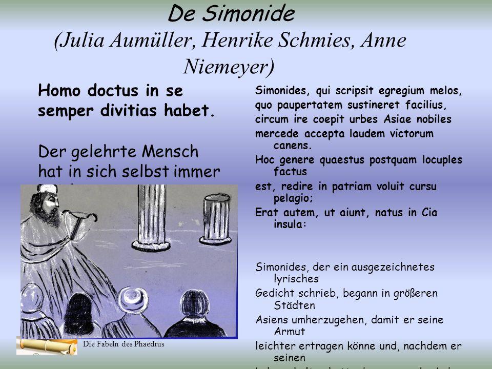 Die Fabeln des Phaedrus De lusu et severitate Tum victor sophus: