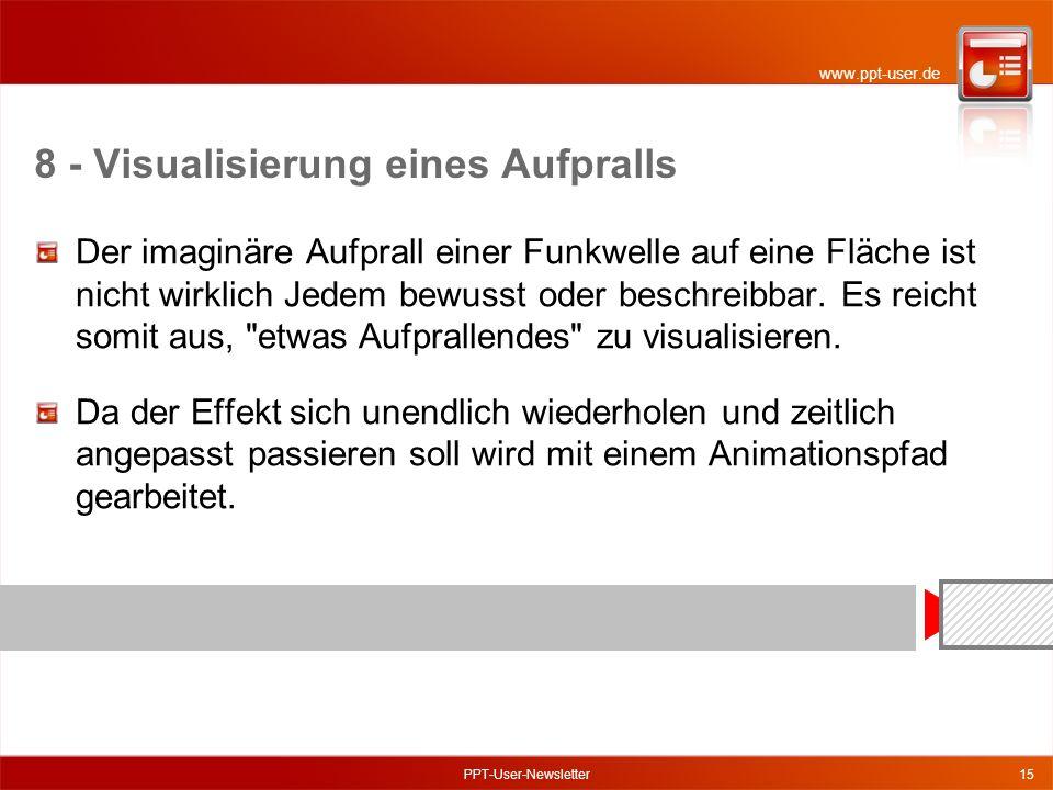www.ppt-user.de PPT-User-Newsletter15 8 - Visualisierung eines Aufpralls Der imaginäre Aufprall einer Funkwelle auf eine Fläche ist nicht wirklich Jedem bewusst oder beschreibbar.