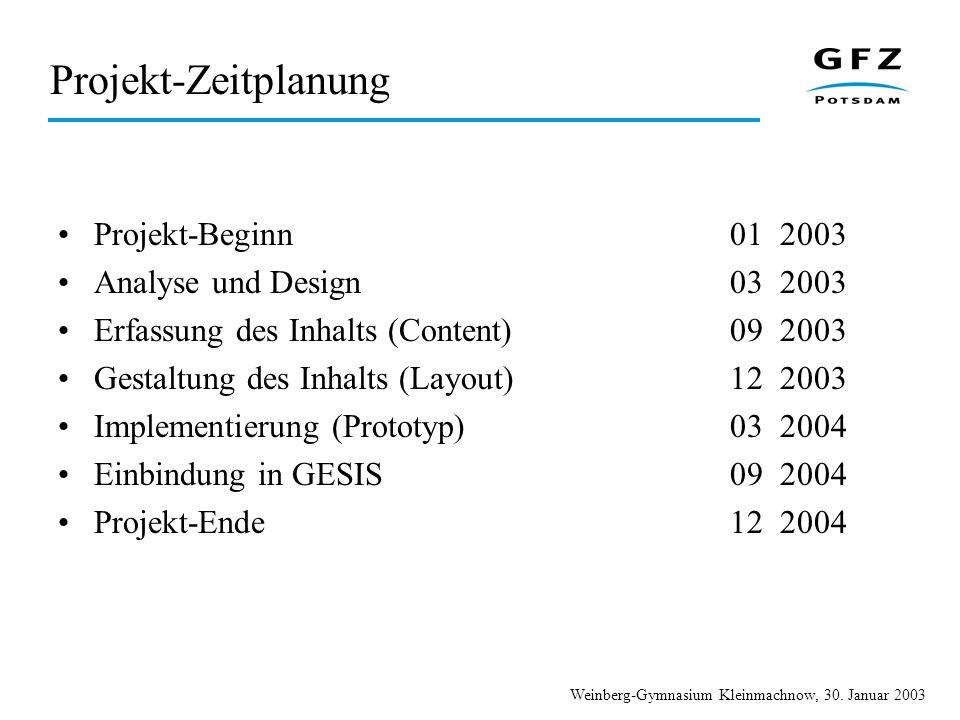Weinberg-Gymnasium Kleinmachnow, 30. Januar 2003 Projekt-Zeitplanung Projekt-Beginn01 2003 Analyse und Design03 2003 Erfassung des Inhalts (Content)09