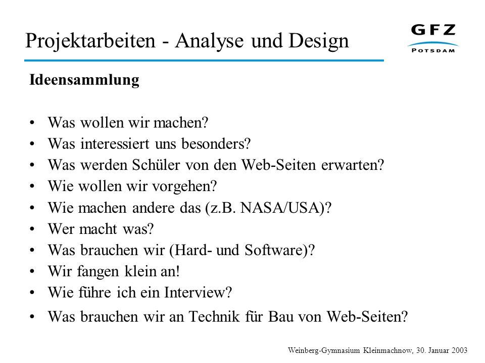 Weinberg-Gymnasium Kleinmachnow, 30. Januar 2003 Projektarbeiten - Analyse und Design Ideensammlung Was wollen wir machen? Was interessiert uns besond