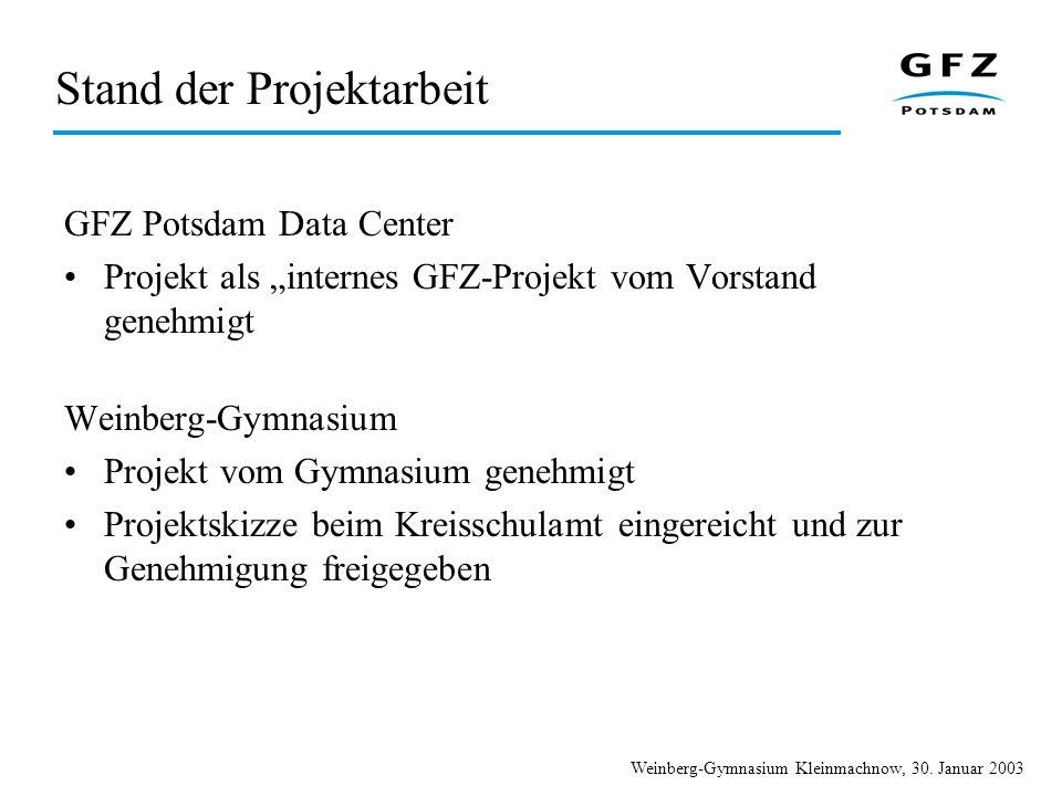 Weinberg-Gymnasium Kleinmachnow, 30. Januar 2003 Stand der Projektarbeit GFZ Potsdam Data Center Projekt als internes GFZ-Projekt vom Vorstand genehmi