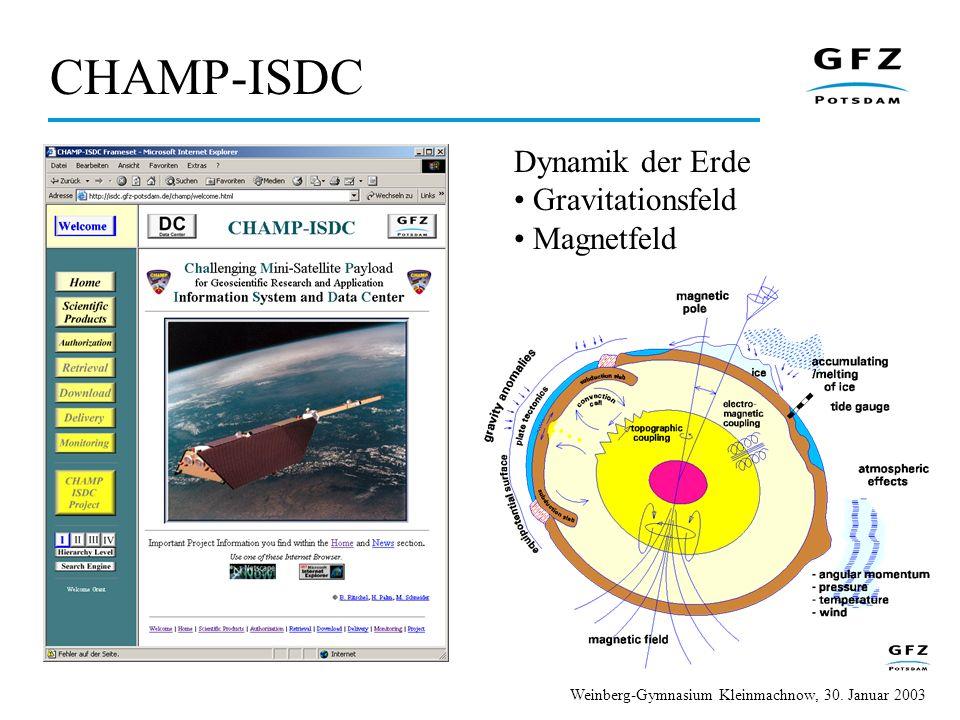 Dynamik der Erde Gravitationsfeld Magnetfeld CHAMP-ISDC