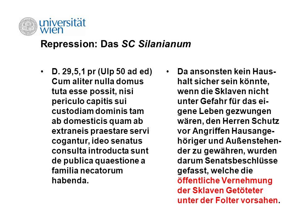 Repression: Das SC Silanianum D. 29,5,1 pr (Ulp 50 ad ed) Cum aliter nulla domus tuta esse possit, nisi periculo capitis sui custodiam dominis tam ab