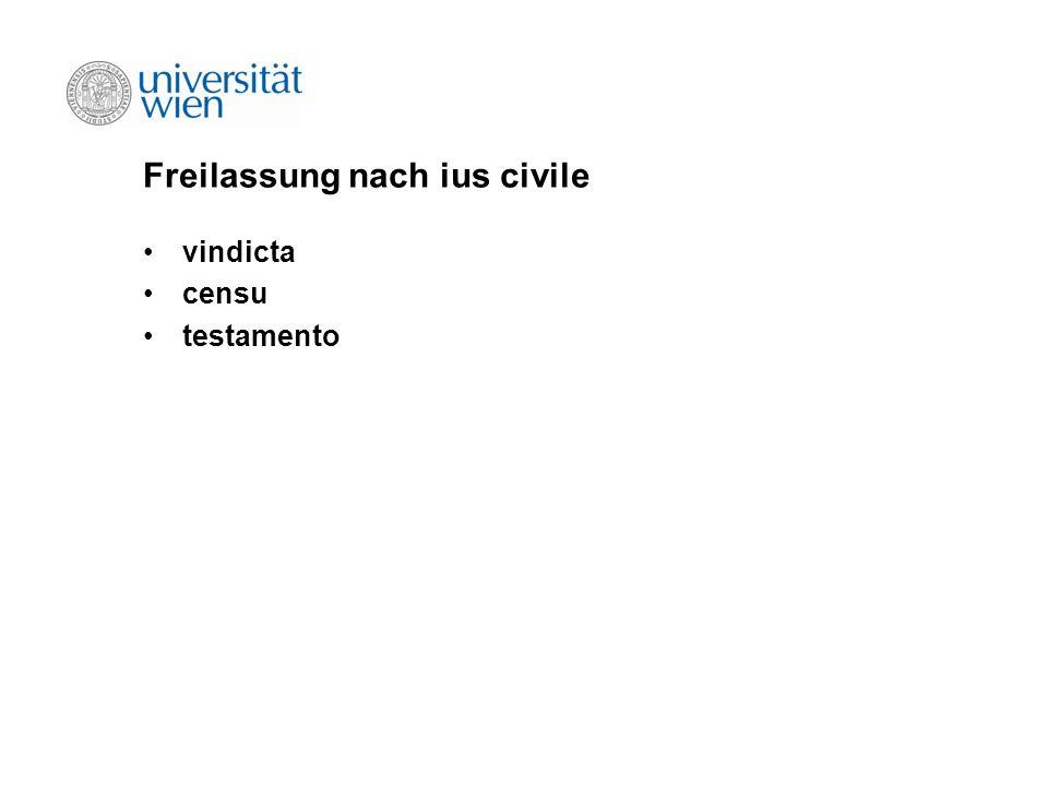 Freilassung nach ius civile vindicta censu testamento