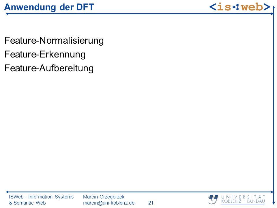 ISWeb - Information Systems & Semantic Web Marcin Grzegorzek marcin@uni-koblenz.de21 Anwendung der DFT Feature-Normalisierung Feature-Erkennung Feature-Aufbereitung