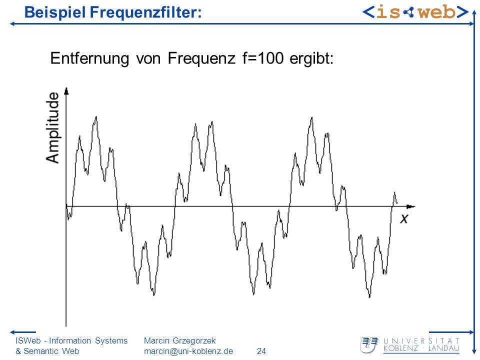 ISWeb - Information Systems & Semantic Web Marcin Grzegorzek marcin@uni-koblenz.de24 Beispiel Frequenzfilter: Entfernung von Frequenz f=100 ergibt:
