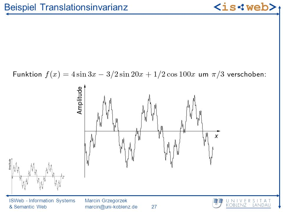 ISWeb - Information Systems & Semantic Web Marcin Grzegorzek marcin@uni-koblenz.de27 Beispiel Translationsinvarianz