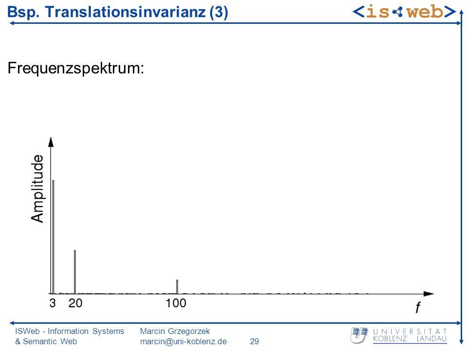ISWeb - Information Systems & Semantic Web Marcin Grzegorzek marcin@uni-koblenz.de29 Bsp.