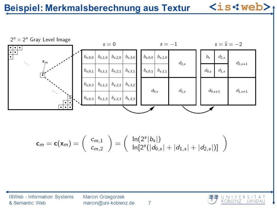ISWeb - Information Systems & Semantic Web Marcin Grzegorzek marcin@uni-koblenz.de7 Beispiel: Merkmalsberechnung aus Textur