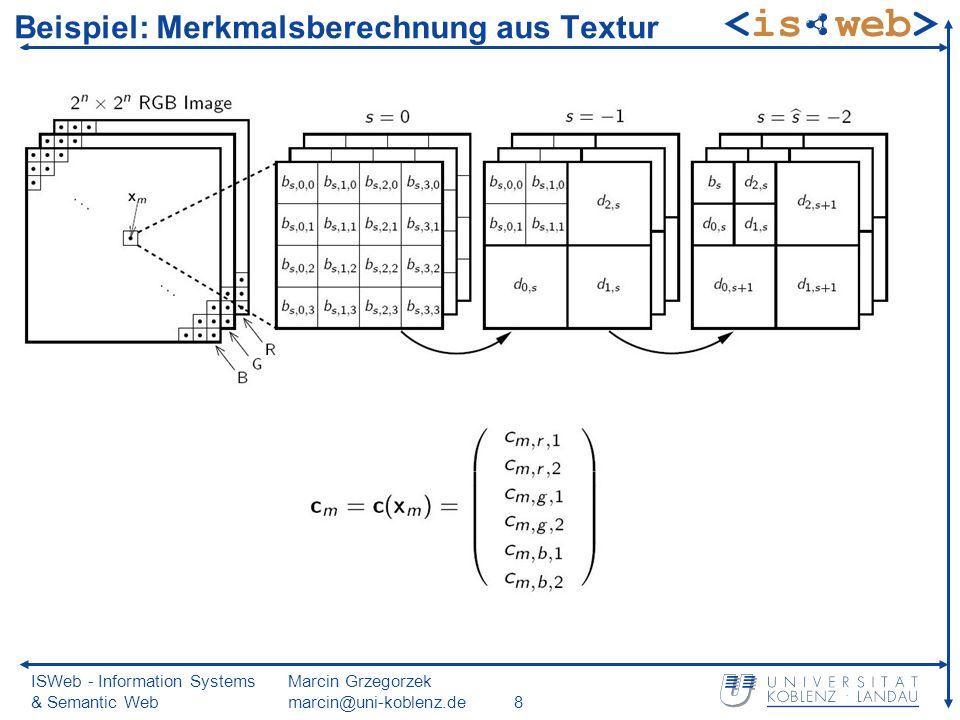 ISWeb - Information Systems & Semantic Web Marcin Grzegorzek marcin@uni-koblenz.de8 Beispiel: Merkmalsberechnung aus Textur
