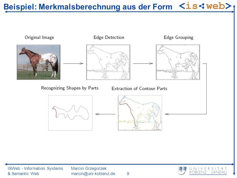 ISWeb - Information Systems & Semantic Web Marcin Grzegorzek marcin@uni-koblenz.de9 Beispiel: Merkmalsberechnung aus der Form