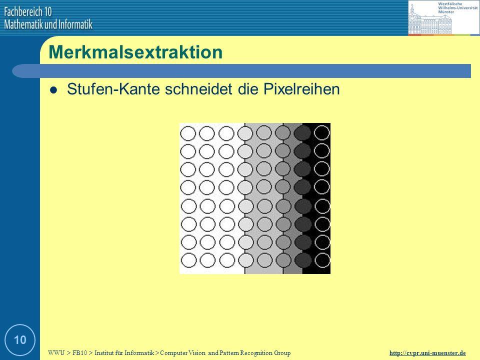 WWU > FB10 > Institut für Informatik > Computer Vision and Pattern Recognition Group http://cvpr.uni-muenster.de 9 Merkmalsextraktion Stufen-Kante gen