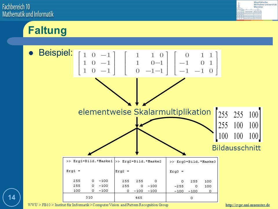WWU > FB10 > Institut für Informatik > Computer Vision and Pattern Recognition Group http://cvpr.uni-muenster.de 13 Faltung Durch Faltung werden die E