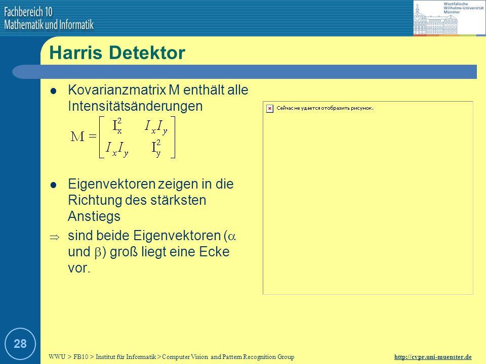 WWU > FB10 > Institut für Informatik > Computer Vision and Pattern Recognition Group http://cvpr.uni-muenster.de 27 Ix 2 Iy 2 Ixy Harris Detektor