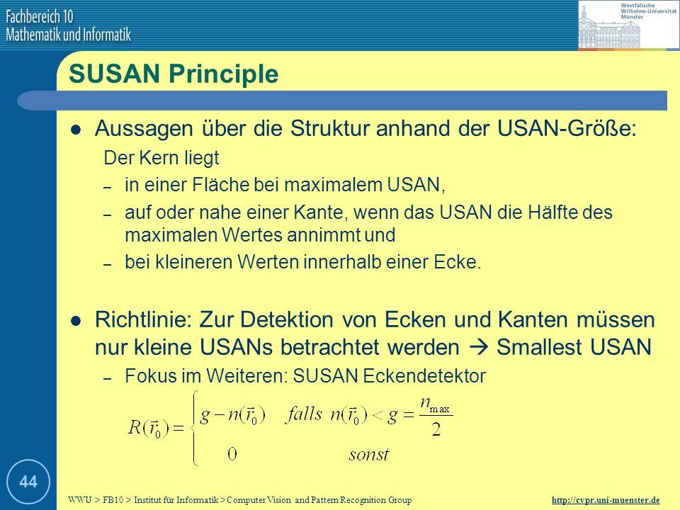 WWU > FB10 > Institut für Informatik > Computer Vision and Pattern Recognition Group http://cvpr.uni-muenster.de 43 …USAN Größe des USAN: Beispiel: Gr