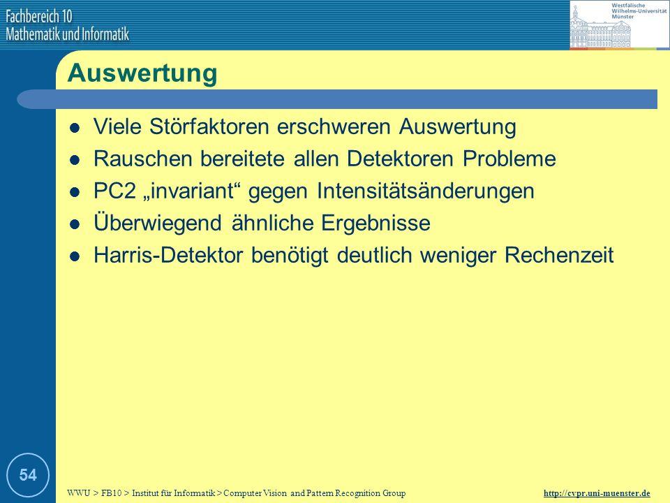 WWU > FB10 > Institut für Informatik > Computer Vision and Pattern Recognition Group http://cvpr.uni-muenster.de 53 Probleme Transformationen nicht bi