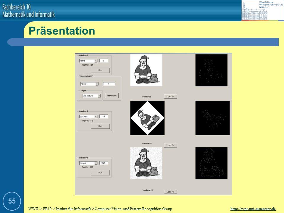 WWU > FB10 > Institut für Informatik > Computer Vision and Pattern Recognition Group http://cvpr.uni-muenster.de 54 Auswertung Viele Störfaktoren ersc