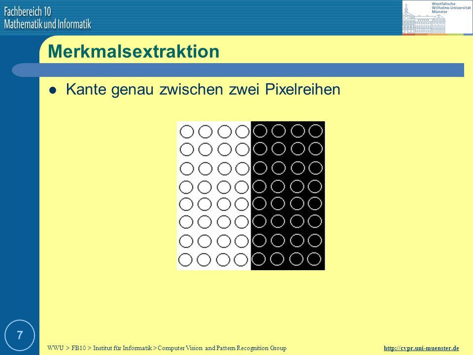 WWU > FB10 > Institut für Informatik > Computer Vision and Pattern Recognition Group http://cvpr.uni-muenster.de 7 Merkmalsextraktion Kante genau zwischen zwei Pixelreihen