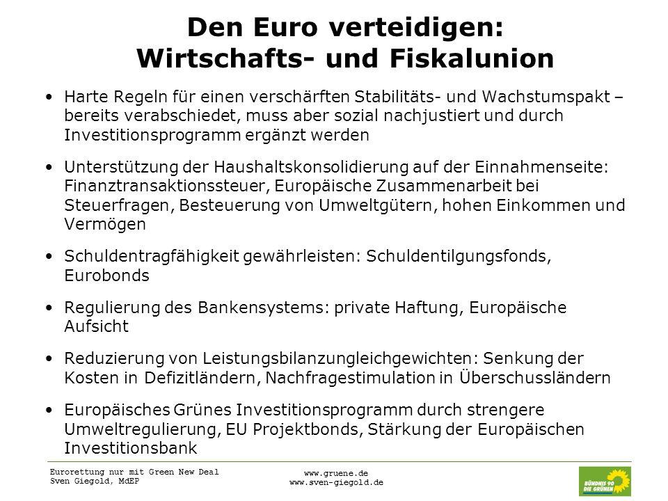 Eurorettung nur mit Green New Deal Sven Giegold, MdEP www.gruene.de www.sven-giegold.de Den Euro verteidigen: Wirtschafts- und Fiskalunion Harte Regel