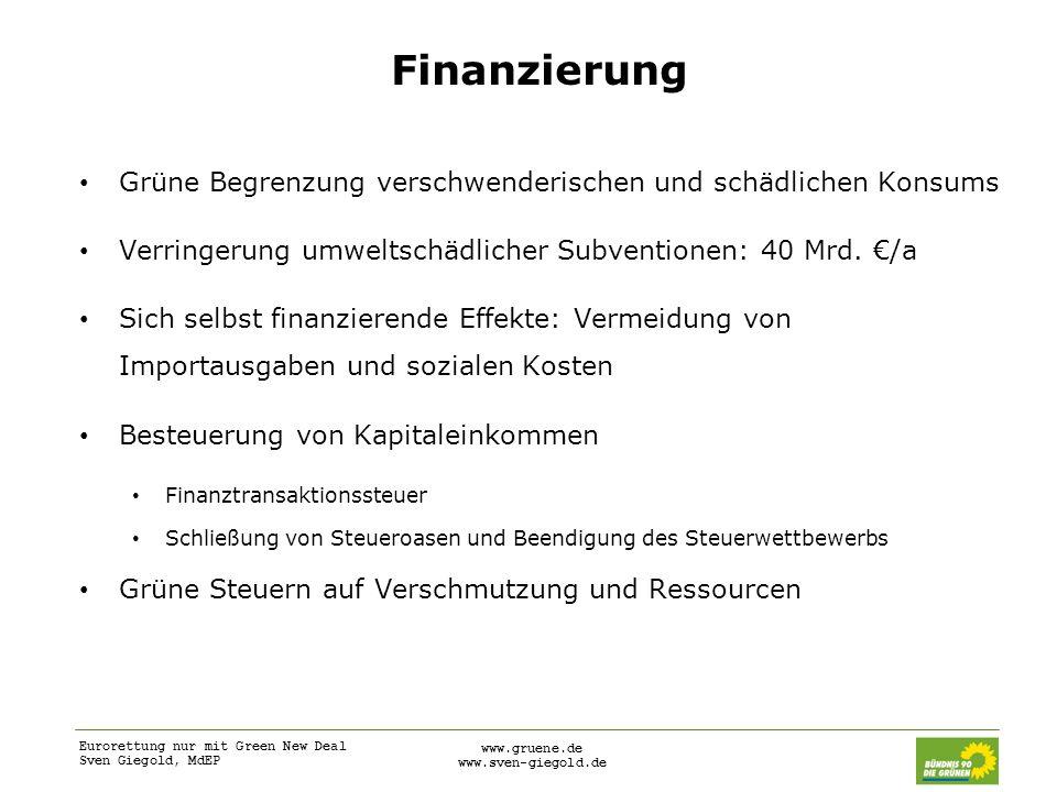 Eurorettung nur mit Green New Deal Sven Giegold, MdEP www.gruene.de www.sven-giegold.de Finanzierung Grüne Begrenzung verschwenderischen und schädlich